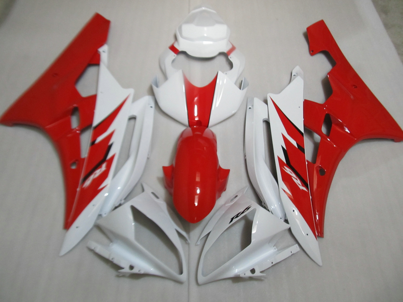 Injection molded 100% fairing kit for Yamaha YZF R6 06 07 red white fairings set YZFR6 2006 2007 TR36 new radiator protective cover grill guard grille protector radiator grille guard cover for bmw r1200gs 13 15 r1200gs adv 14 15