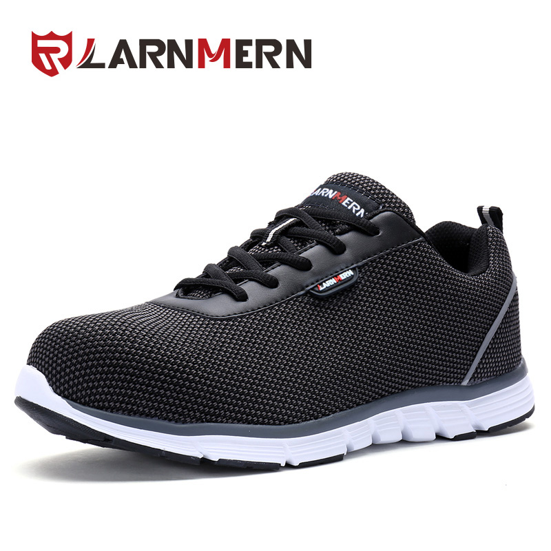 LARNMERN Men Safety Shoes Work Steel Toe Shoes Reflective Stripe - Men's Shoes