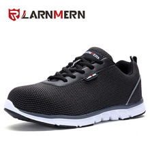 LARNMERN Men Safety Shoes Work Steel Toe Shoes Reflective Stripe Footwear Lightweight Breathable Casual sneaker