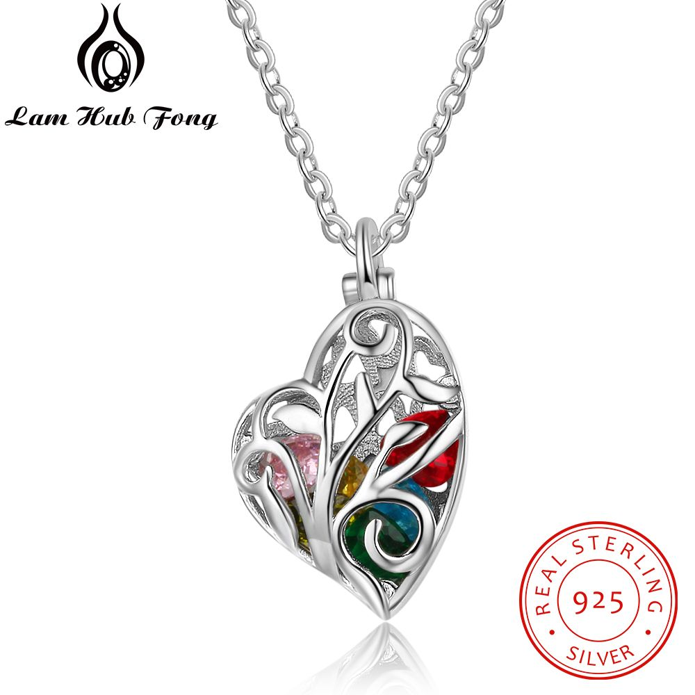 Personalized Heart Cage Necklaces Pendants 12 Month Birthstone 925 Sterling Silver Necklace Unique Gift for Mother(Lam Hub Fong)Personalized Heart Cage Necklaces Pendants 12 Month Birthstone 925 Sterling Silver Necklace Unique Gift for Mother(Lam Hub Fong)