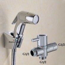 Туалет Ванная комната ABS Ручной пеленки опрыскиватель набор для душа shattaf биде опрыскиватель душ комплект + G1/2 t-адаптер + шланг + настенный кронштейн