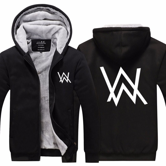 2016Disco Jockey Alan Walker Faded Fleece Hoodies Mens Hip Hop Rapper Thicken Zipper Jackets Free Shipping USA size Plus size