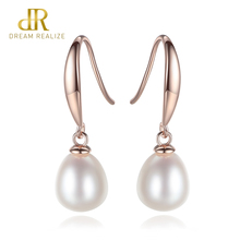 DR New Simple And Stylish 925 Sterling Silver Pearl Water Drop Earrings For Women Brand Jewelry Anniversary Gift Send Free box