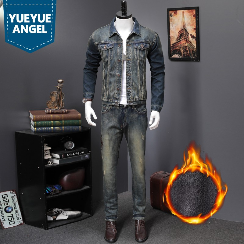 Fashion New Winter Warm Men Set Vintage Slim Embroidery Punk Long Sleeve Jaqueta Masculina Denim Pant Man 2 Piece Set Plus Size