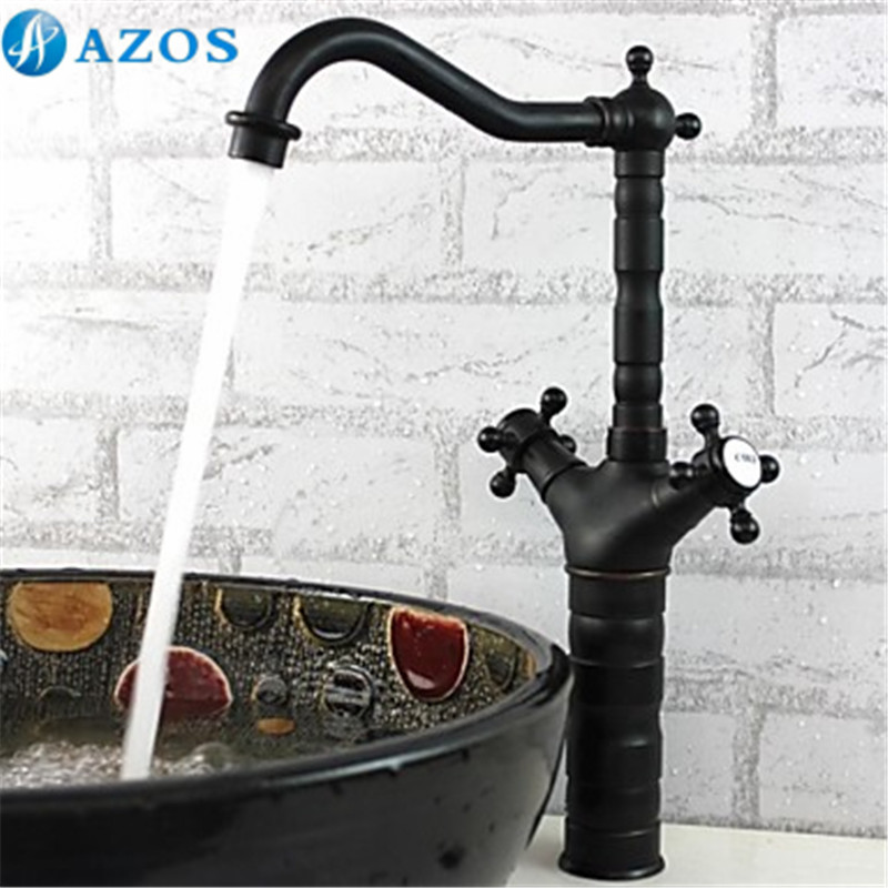 Kitchen Sink Faucets Antique Black Brass Swivel Waterfall Shower Hose Spout Dual Handle Nickle Oil Rubbed Deck Mounted CFLT437