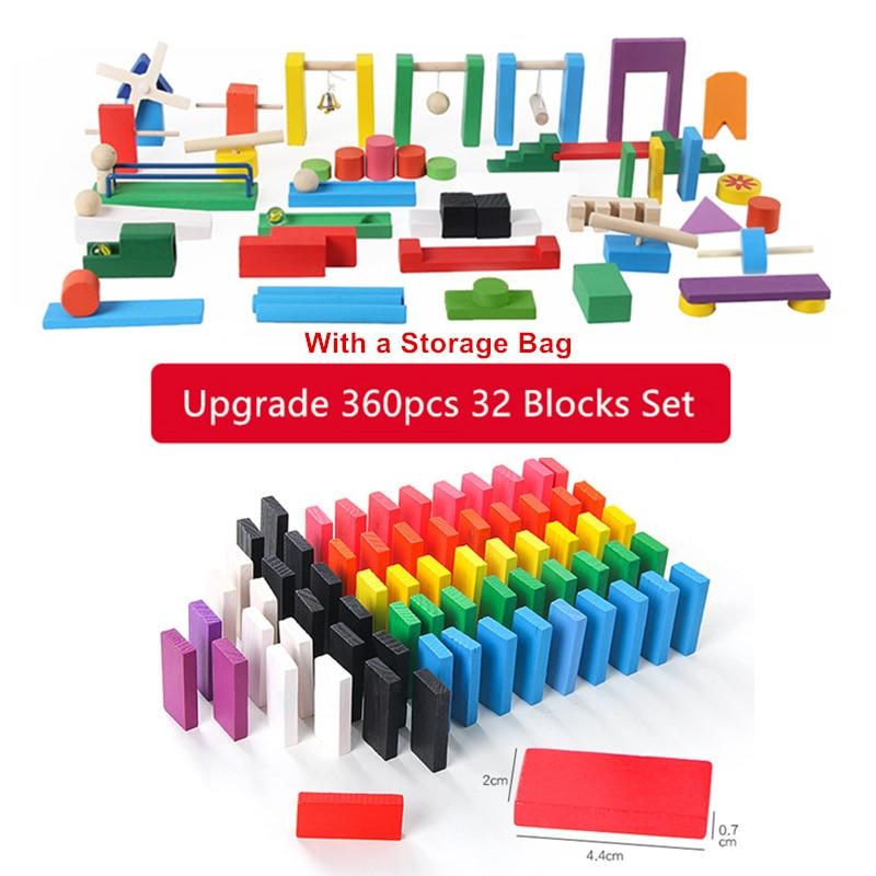 Смесь цветов домино деревянные игрушки кубики безопасная, из дерева игрушки для детей интеллектуальная игра взрослых Игрушка антистресс Семья игры Новинка подарки - Цвет: 360pcs 32 blocks 2KG