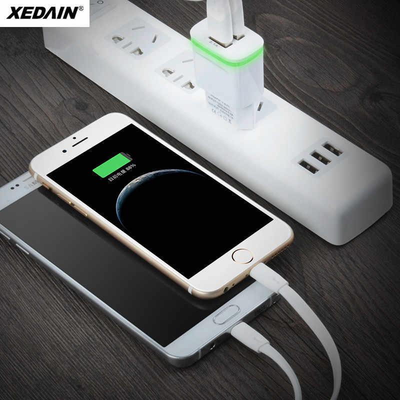 XEDAIN جودة عالية الهاتف USB شاحن سريع الاتحاد الأوروبي/الولايات المتحدة الأمريكية التوصيل 2.1A الجدار شاحن منافذ مزدوجة 2 USB مصباح ليد شحن سريع محول الطاقة