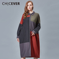 CHICEVER Spring Striped Women Dress Hit Colors Long Sleeve Loose Big Size Dresses Female Clothes Fashion