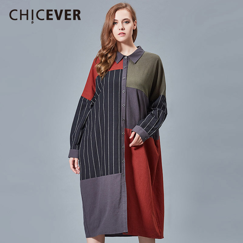 CHICEVER Spring Striped Women Dress Hit Colors Long Sleeve Loose Big Size Dresses Female Clothes Fashion Vestidos Casual 2018