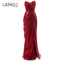 CXFWDJ Hot Sale New Product Red Sequins Split The Fork Strapless Sexy Prom Party Floor Length