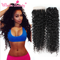 Kinky Curly Brazilian Hair With Closure 5pcs Lot Wet And Wavy Bundles With Closure Fast And Free Shipping Curly Weave Human Hair
