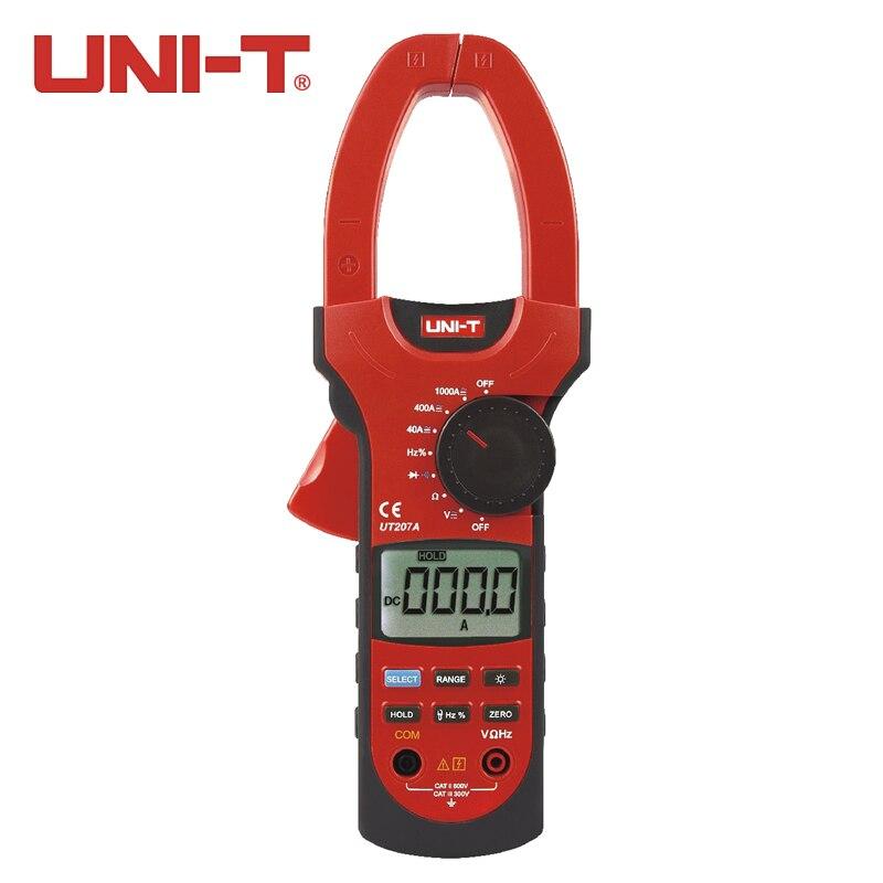 UNI T UT207A 1000A цифровой клещи 4000 кол AC DC мультиметр Авто резцы Вольт Ампер Ом Частота Диод тестер ЖК дисплей с подсветкой