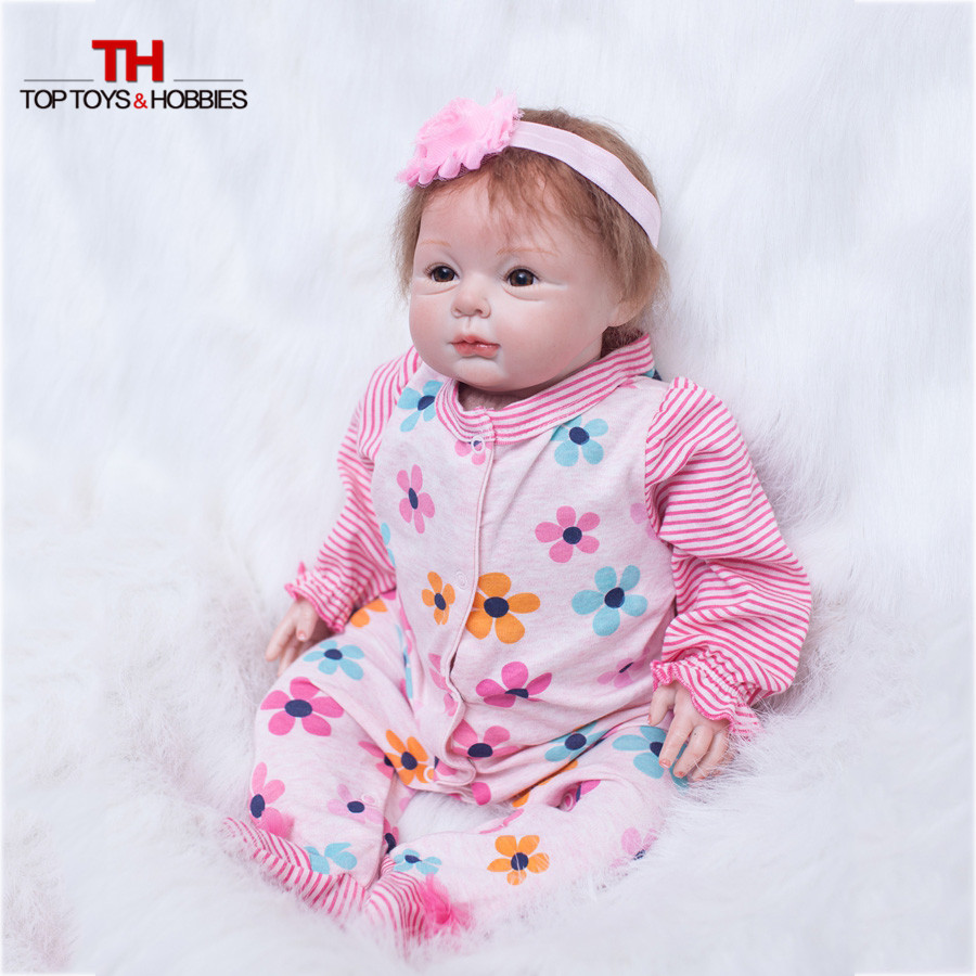 55 cm Silicone Bebe Dolls Girl Doll Reborn 22 Inch Realistic Silicone Vinyl Baby Doll Lifelike For Children Toys Gift lifelike american 18 inches girl doll prices toy for children vinyl princess doll toys girl newest design