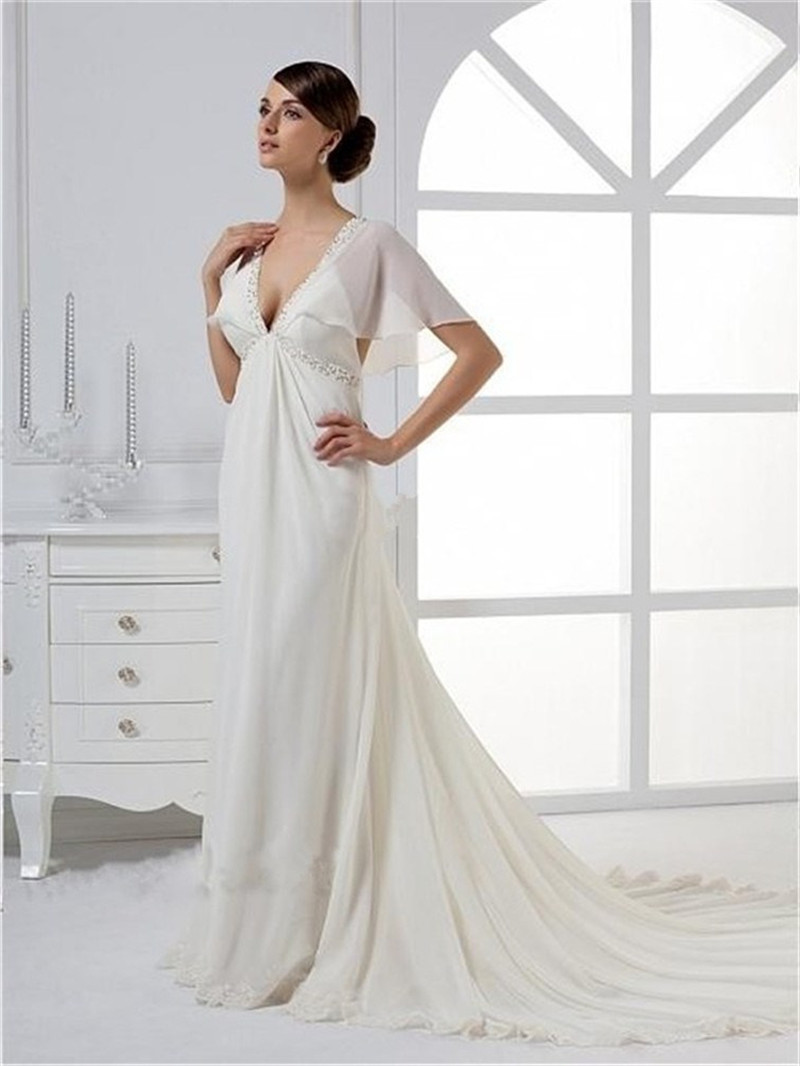 2015 V neck Wedding Dress Romantic Bell Cap Sleeve Empire Waist V ...