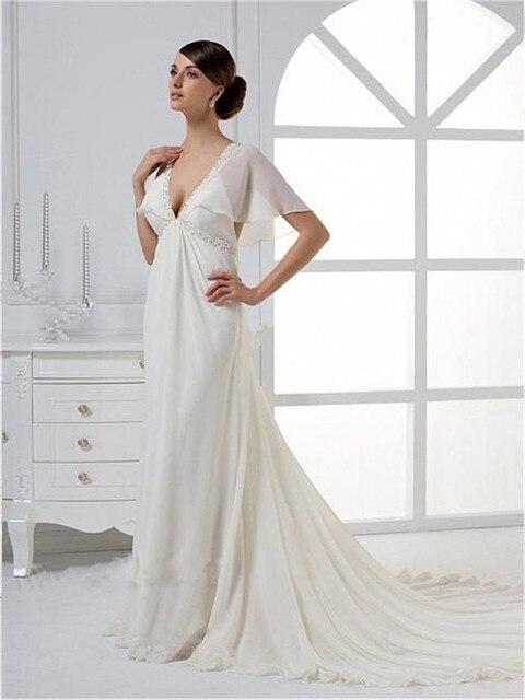 579421f4840 2015 V-neck Wedding Dress Romantic Bell Cap Sleeve Empire Waist V Back  Vestido De Noiva Floor-Length Robe De Mariage Sweep Train