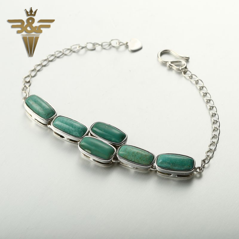 New Design Turquoise Natural Bead Sterling Silver Bracelet For Women White 6pcs Square 925 Silver Bracelet jewelry length 18.5cm купить в Москве 2019