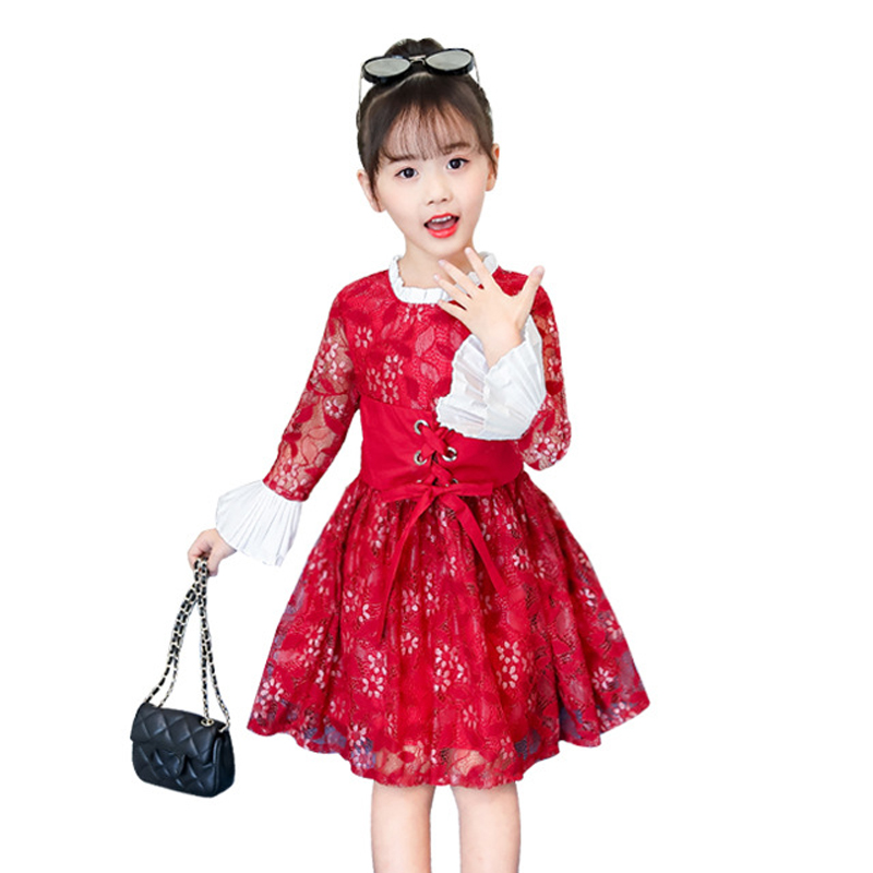 4 -14 yrs teenage girl princess dresses fall vintage noble gown red lace frock 2018 winter elegant long-sleeve big girls costume цены онлайн