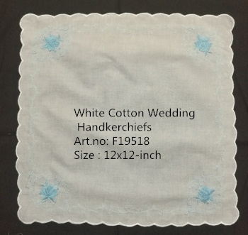 Set Of 12 Fashion Bridal Floral Handkerchiefs White Cotton Hankie With Scallop Edges & Color Embroidery Hanky 12x12-inch