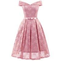 Women Vintage Lace Dress Big Size Slash Neck Off Shoulder Floral Evening Party Swing Dresses Retro Bridesmaid Wedding Vestidos