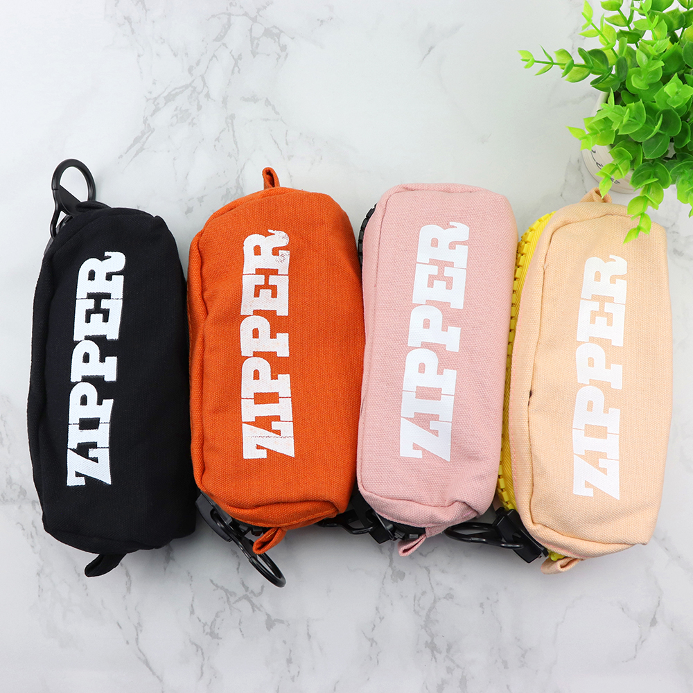 2018 Big Zipper Pencil Bag Black/apricot/blue/pink Canvas Pencil Case Stationery Storage Bag School Supplies Office Supplies