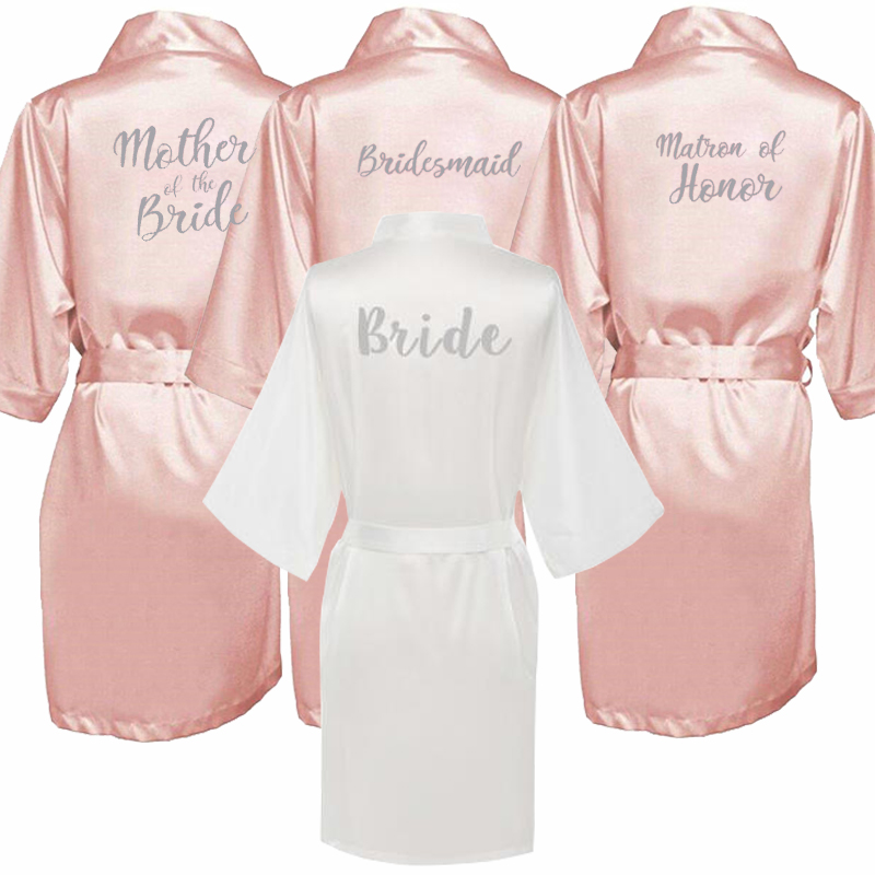 Dark Pink Robe Silver Letter Kimono Satin Pajamas Wedding Robe Bridesmaid Sister Mother Of The Bride Robes