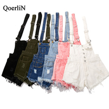 QoerliN Women's Jeans Overalls 2018 Jumpsuit High Fashion Ladies Playsuits Plus Size Pink Rips Button Tracksuits Rips Romper Hot high waist rips shredded jeans