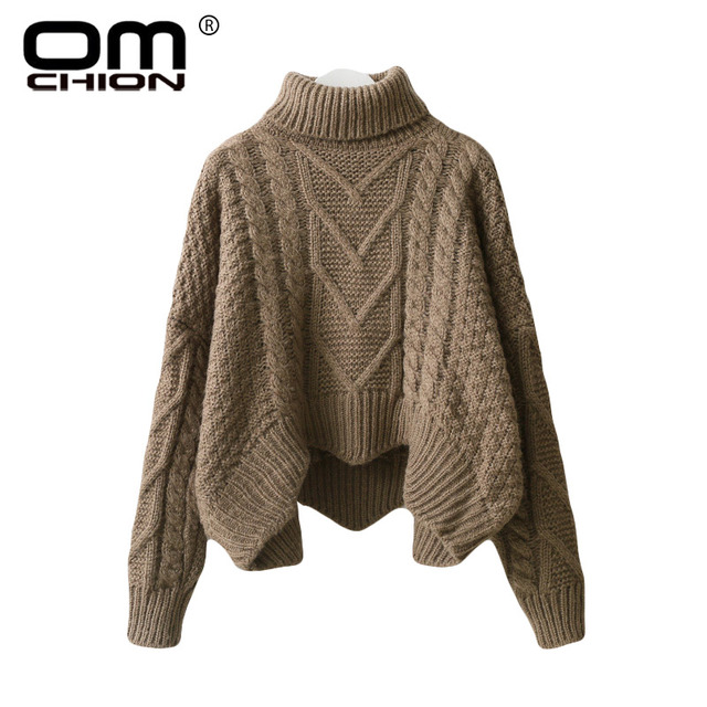 OMCHION Sueter Mujer 2018 Winter Turtleneck Long Sleeve Women Sweaters And Pullovers  Ugly Oversized Twist Thicken Pullover LMM69 5c2fc4af82b6