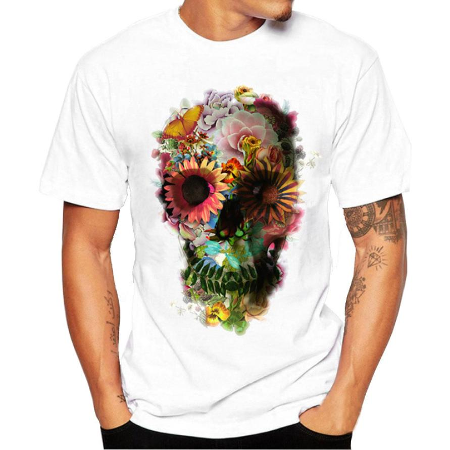 snowshine #3522 Men Boy Plus Size Punk Skull Floral Print Short Sleeve T Shirt Blouse Tops free shipping