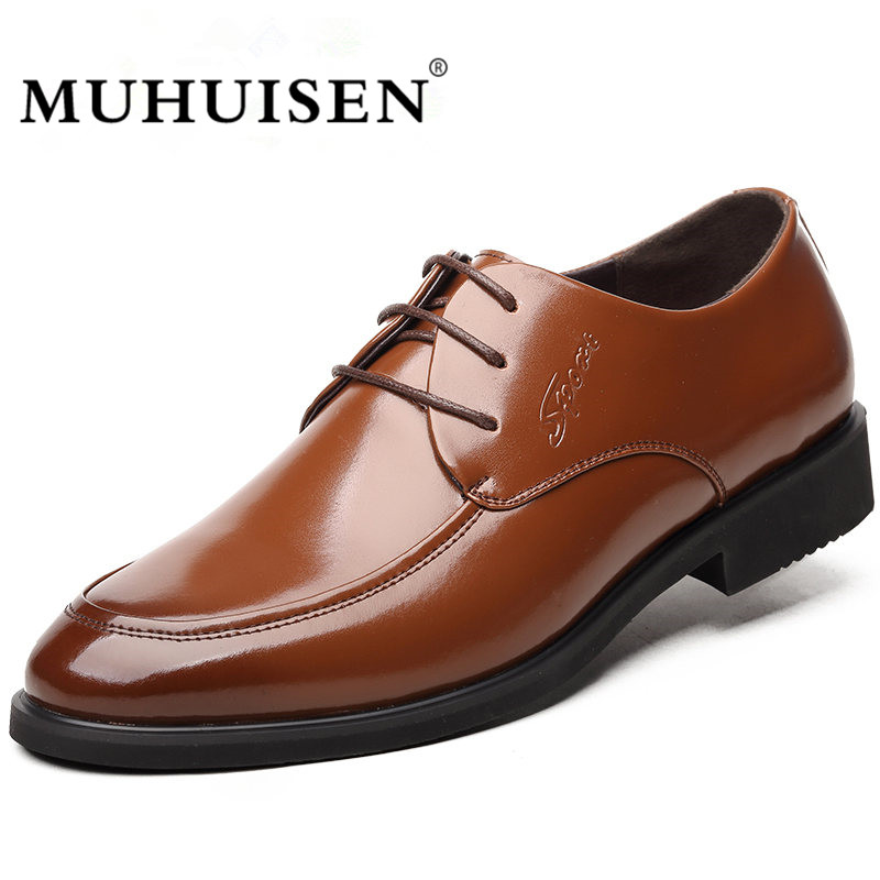 MUHUISEN Leather Oxford Shoes For Men Dress Shoes Fashion Business Pointed Toe Men Formal Wedding Shoes new 2018 fashion men dress shoes black cow leather pointed toe male oxfords business shoes lace up men formal shoes yj b0034
