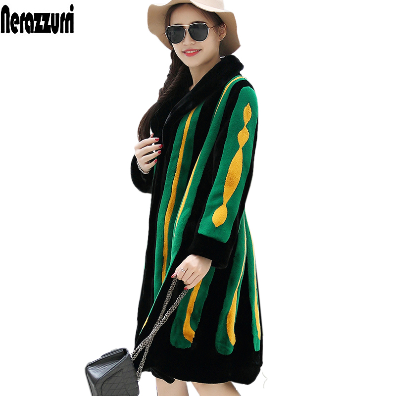 Nerazzurri Winter Faux Fur Coat Women Long Sleeve Color Block Thick Warm Furry Fake Rex Rabbit Fur Jacket Plus Size Streetwear