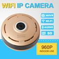 SHRXY 360 Degree Smart IPC Mini Wireless IP Fisheye Camera Two Way Audio P2P 960P HD Security Wifi Camera Golden Color