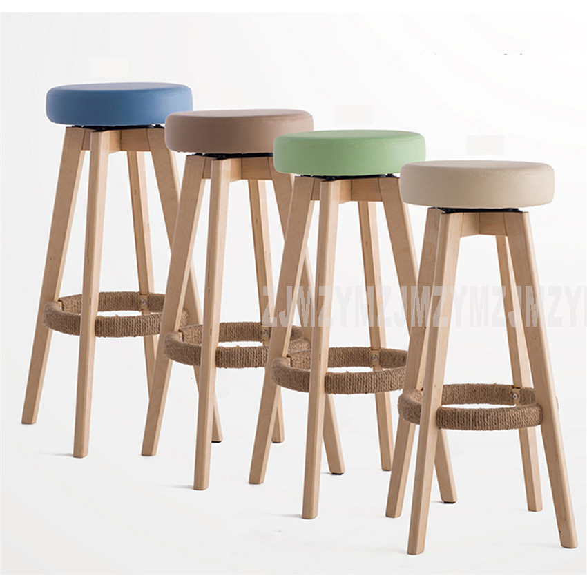Wooden Swivel Bar Stools Modern Natural Finish Round PU Leather Sponge Soft Seat Backless Commerical Bar Furniture 74cm Height