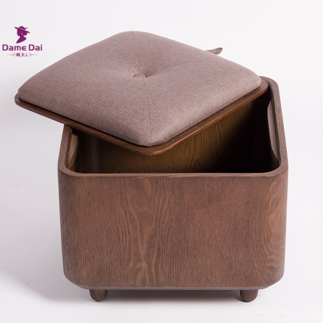 Wooden Organizer Storage Stool Ottoman Bench Footrest Box Coffee Table Cube Furniture Fabric Cushion Top