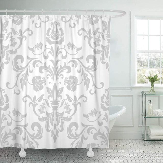 Fabric Shower Curtain With Hooks Damask In The Style Of Baroque Gray