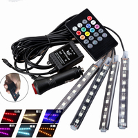4PCS Wireless Remote Music Voice Control Car RGB LED Atmosphere Lights Strip Decorative Lights With 24