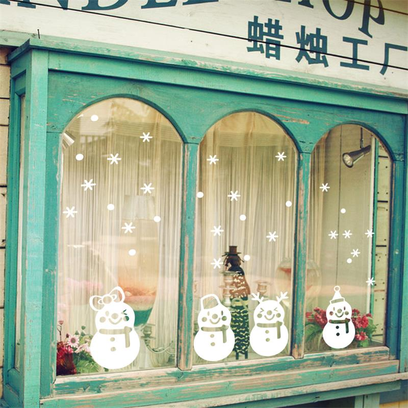 Snowman Christmas Wall Stickers Decoration Window Glass Xmas Snowflake Decoration For Kids Rooms Decals Shop Decor New Year Gift