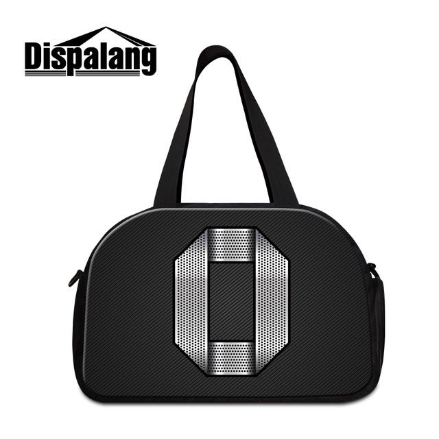 Dispalang moda dos homens sacos de viagem bagagem bolsas 3D número 0 impressão duffle saco fim de semana legal preto sacos de noite por atacado