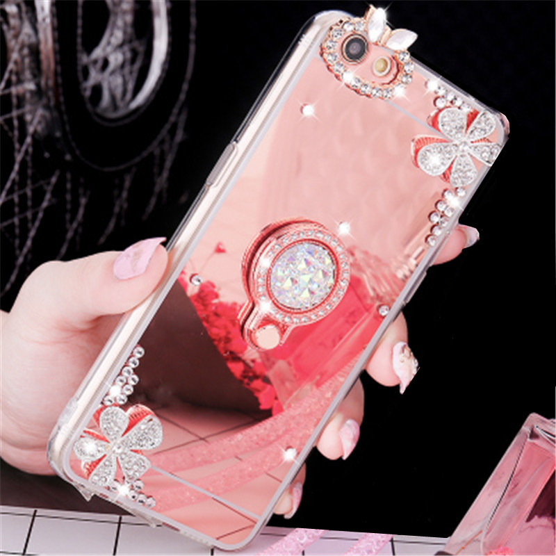 For xiaomi mi 9 mi 8 SE M8 Lite M6 Plus M5 MI5S Plus 5X 6X A1 A2 Note 2 Diamond Mirror Ring Holder Phone Case