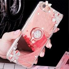 For xiaomi mi 9 8 SE M8 Lite M6 Plus M5 MI5S 5X 6X A1 A2 Note 2 Diamond Mirror Ring Holder Phone Case