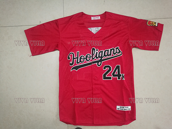 New Baseball Jersey Bruno Mars 24K Hooligans BET Awards Baseball Jersey Stitched Men Thr ...