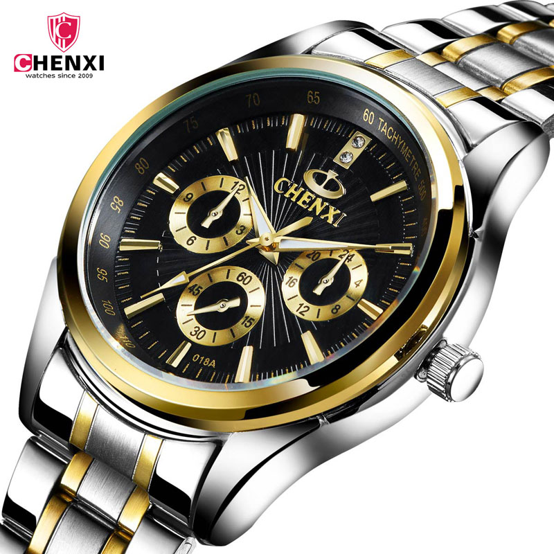 CHENXI Gold Watch Men Watches Top Brand Luxury Wristwatch clock men erkek kol saati Quartz relojes mujer 2017 Relogio Masculino brown leather strap men quartz watch mens watches top brand luxury erkek kol saati horloge montre homme clock megir hodinky b190
