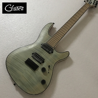 Gisten Yüksek Kaliteli 7 dize elektrik gitar, patlama renk Quilte Akçaağaç elektrik gitar, Abalone bağlama üst, ücretsiz kargo