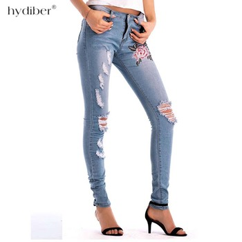 Embroidery high waist woman jeans