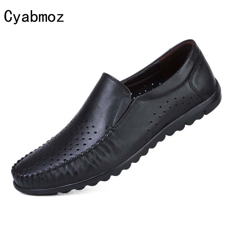 Cyabmoz Brand Genuine Leather Men Loafers Shoes Fashion Slip On Moccasins Black Men Driv ...
