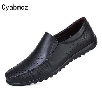 Cyabmoz marki prawdziwej skóry mężczyzn buty wsuwane moda wsuwane mokasyny czarne męskie buty do jazdy samochodem na co dzień na łodzi buty wygodne tanie i dobre opinie Dla dorosłych Przypadkowi buty moccasin breathable loafers designer men 2017-20170508-LH2294-LYWY6086 Lato Pasuje prawda na wymiar weź swój normalny rozmiar