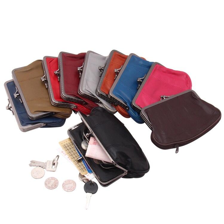 High Quality Men Genuine Leather Mini Coin Purse Women Small Coin Bags Slim Wallet Creative Designer Cute Sheepskin Storage Bag