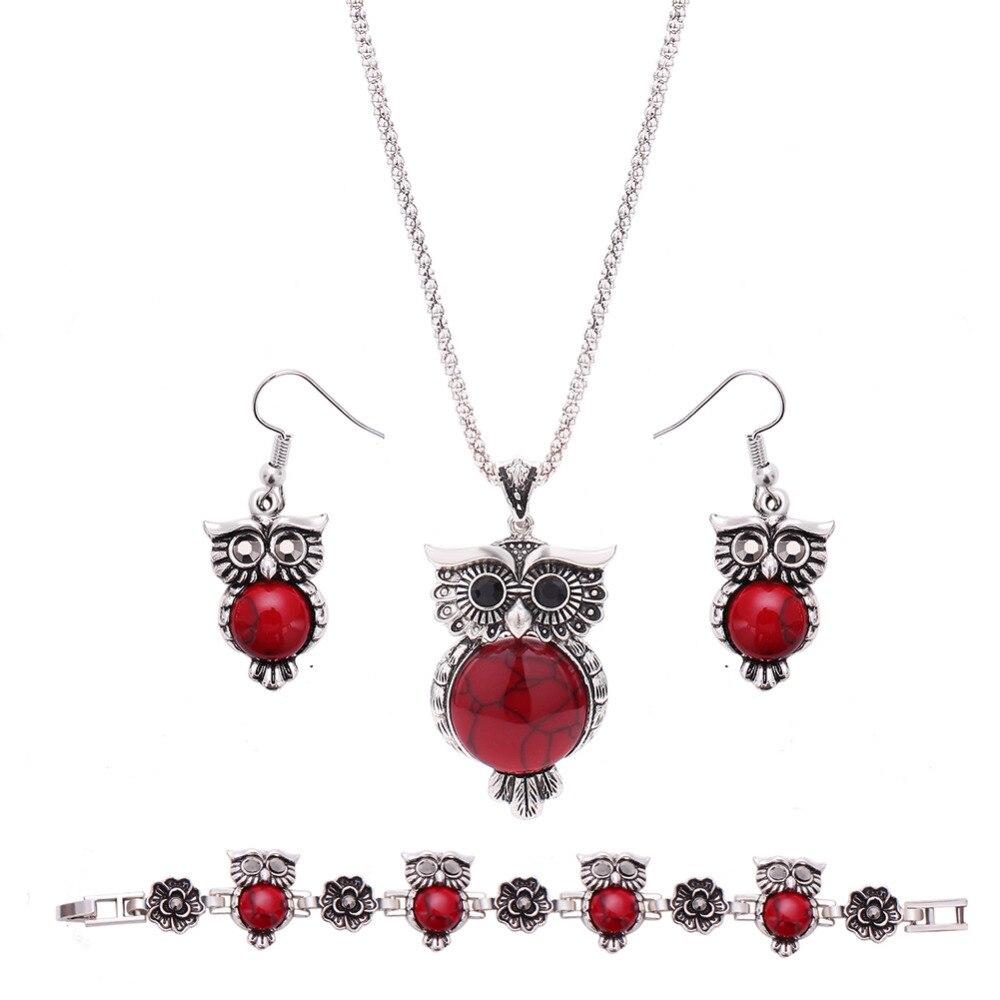 Cute Romantic Owl Necklace Earrings Bracelet 3 In 1 Set Vintage Jewelry Sets  Owl Pendants Chain