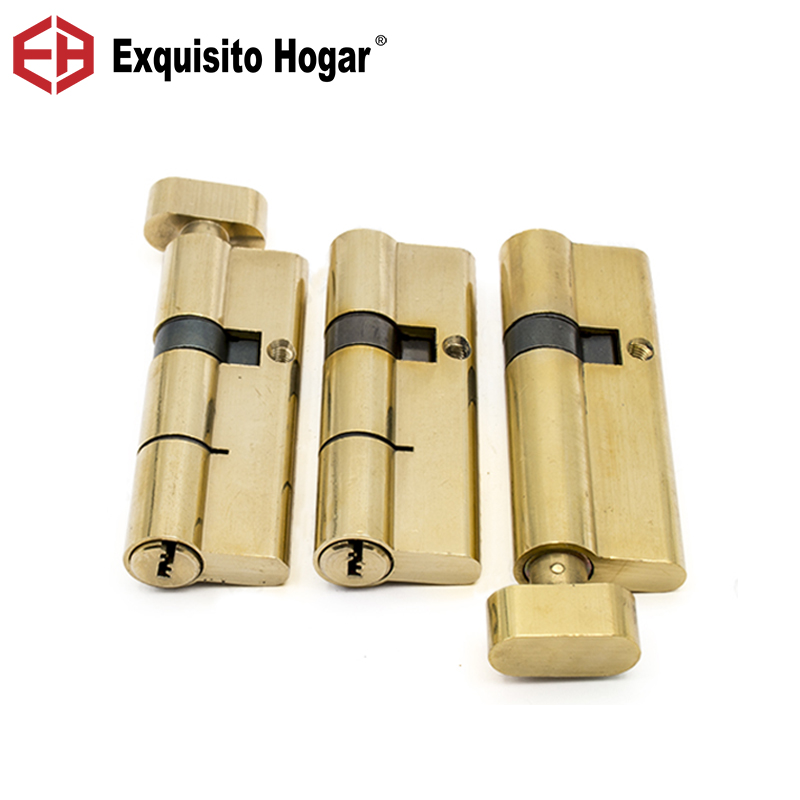 Gold Double Single Open Cylinder Hardware Indoor 100/105/110mm Lock Door Cylinder Brass Lock  Extended 8pcs Key