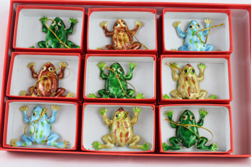 wholesale 775cm collectibles 6pcs chinese handmade cloisonne frog christmas ornaments charmschina - Wholesale Christmas Decorations