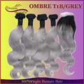 2016 Hair Products Ombre Hair Extensions 8A Brazilian Virgin Hair Body Wave 4pcs With Closure Brazilian Human Hair Weave 1BGrey